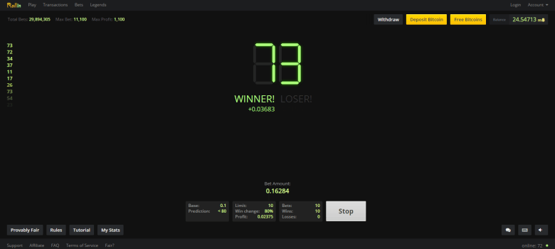 Rollin.io win screen