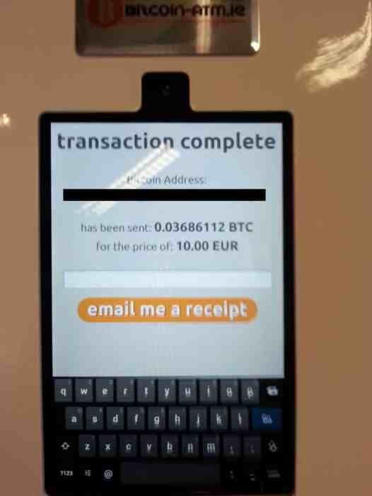 They'll fly across the blockchain, and you can email yourself a reciept.