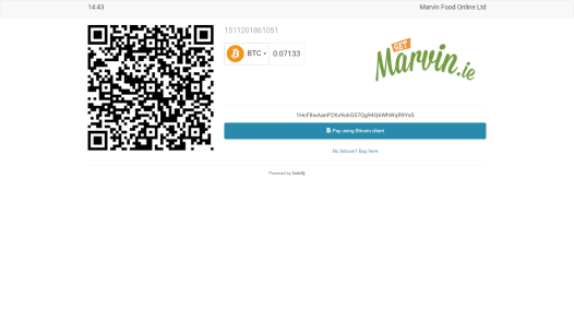 Get shown the price of your meal in bitcoin