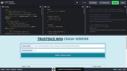 Trustdice Crash Bet Provably Fair Verification
