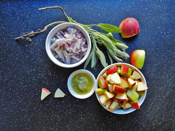 apples, sage, shallots and garlic
