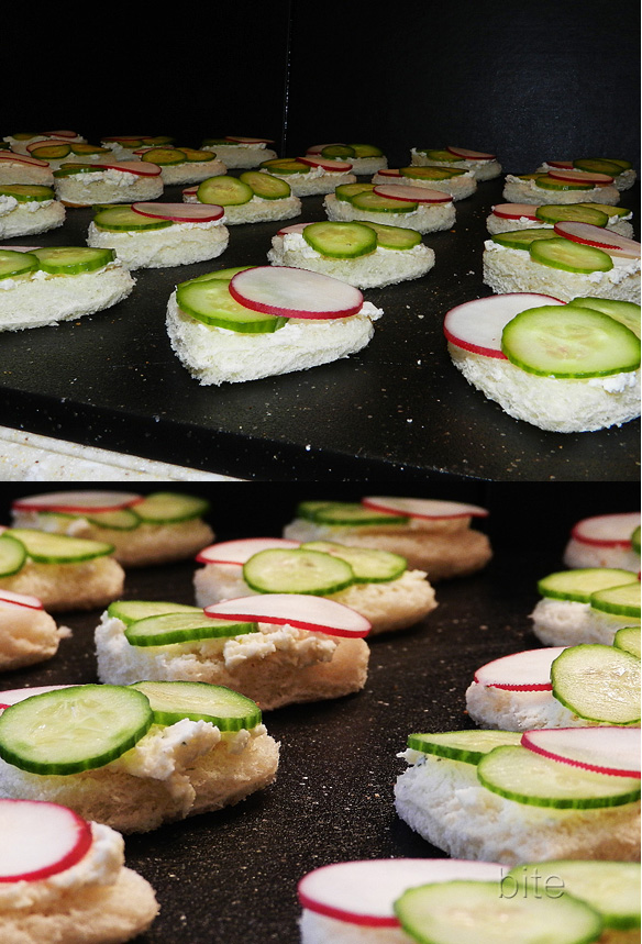 radish, cucumber and herbed boursin tea sandwiches