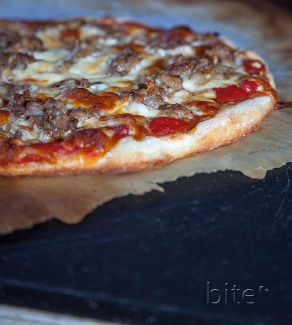 homemade fennel sausage and mozzarella pizza