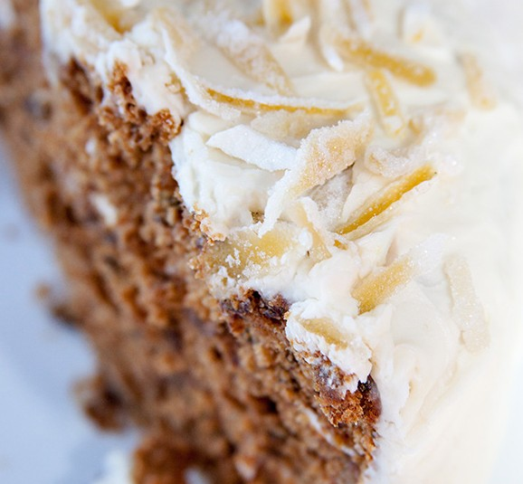 cardamom spiced layer cake with cream cheese frosting and candied lemon peel – sweet spice