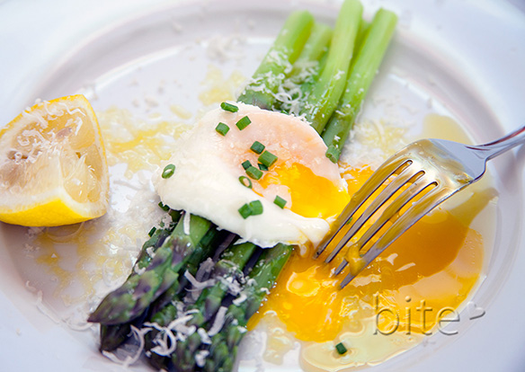 Spring Asparagus with Poached Egg and Snipped Chive Shoots