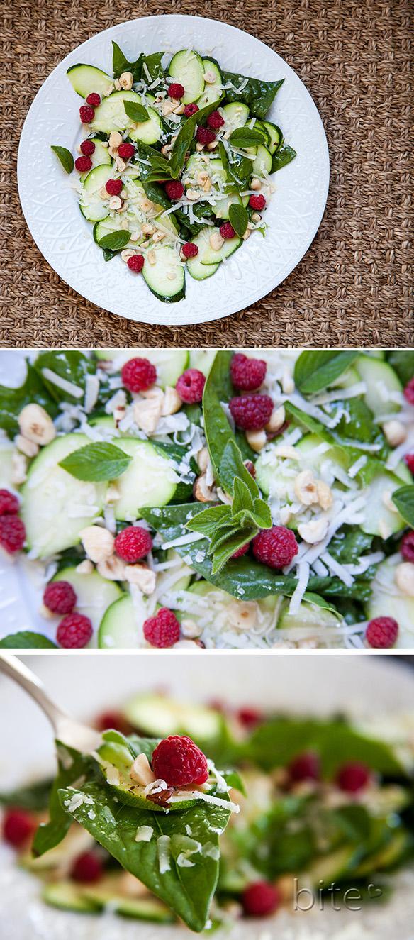 zucchini wild mint and toasted hazelnut salad with raspberries