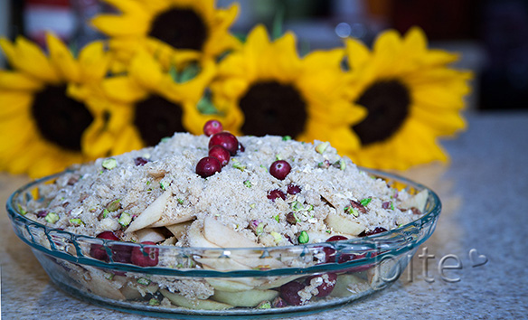 Apple Cranberry Pistachio Crisp