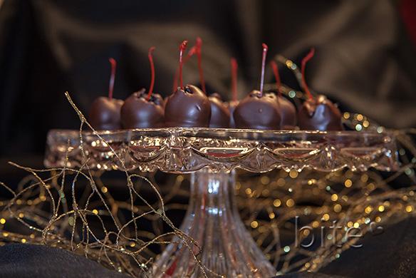 Chocolate Dipped Oreo Cookie Marachinos on Pedestal