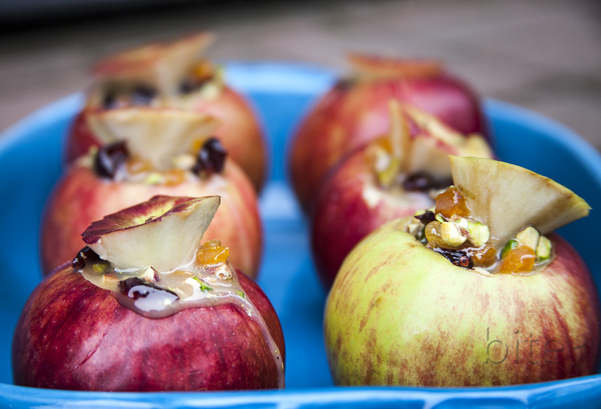 NYC gems and maple baked apples with cranberries, apricots and pistachios