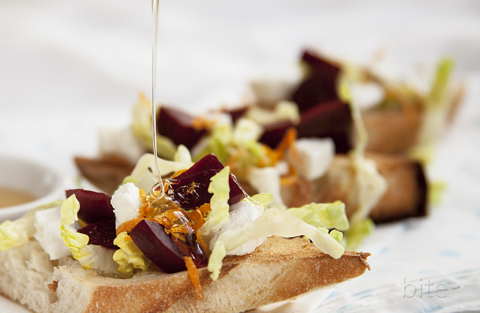 pickled beet, chevre and orange tartines drizzled with wild flower honey / bitebymichelle.com