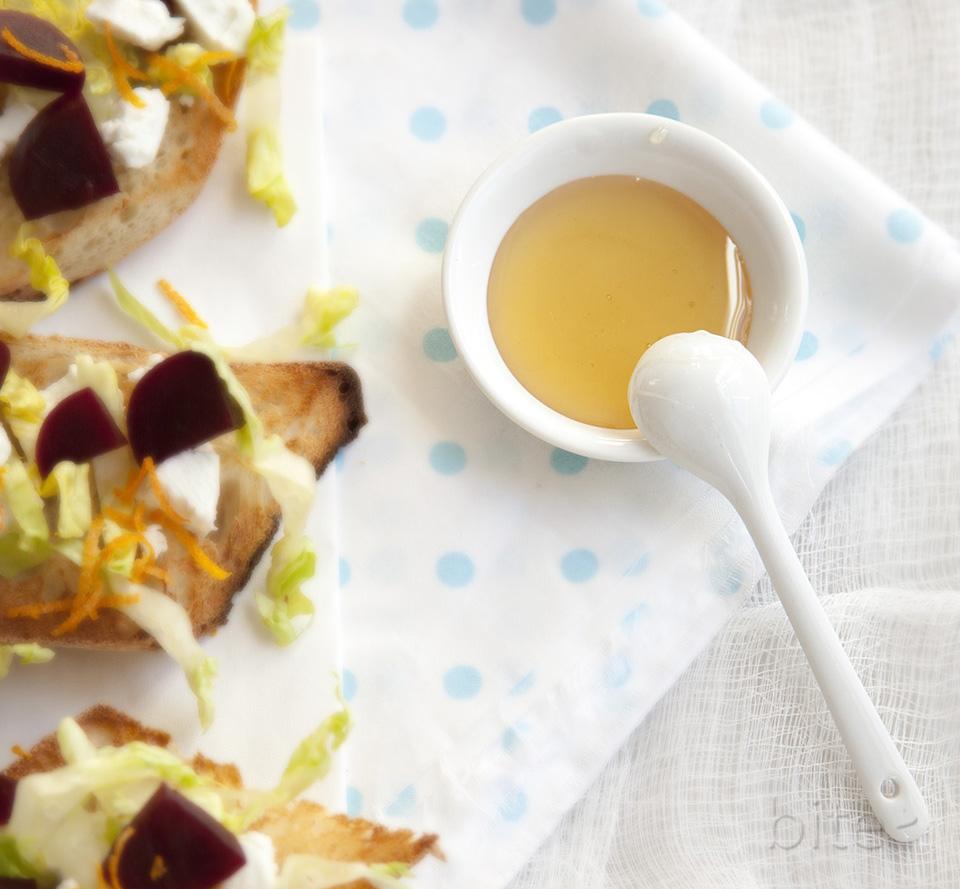 pickled beet, chevre and orange tartines drizzled with wild flower honey