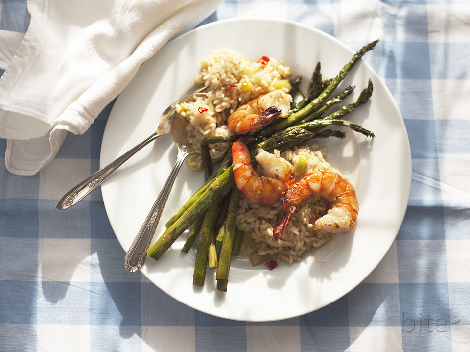 asparagus and jumbo shrimp risotto – Spring's coming!