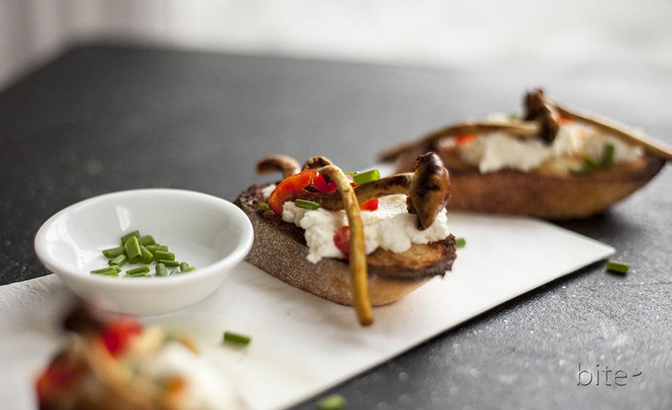 cinnamon cap mushroom, ricotta and chive bruschetta / bitebymichelle.com