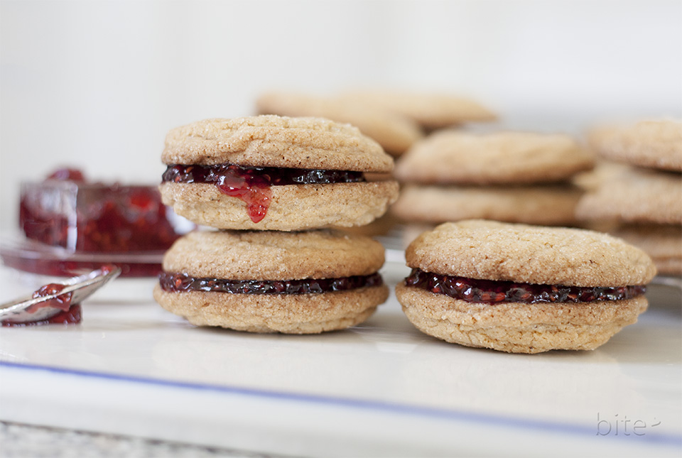 jam jams - gingersnaps stuffed with raspberry jam