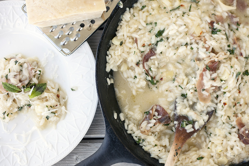 leek and prosciutto risotto with fresh mint and chilies / bitebymichelle.com