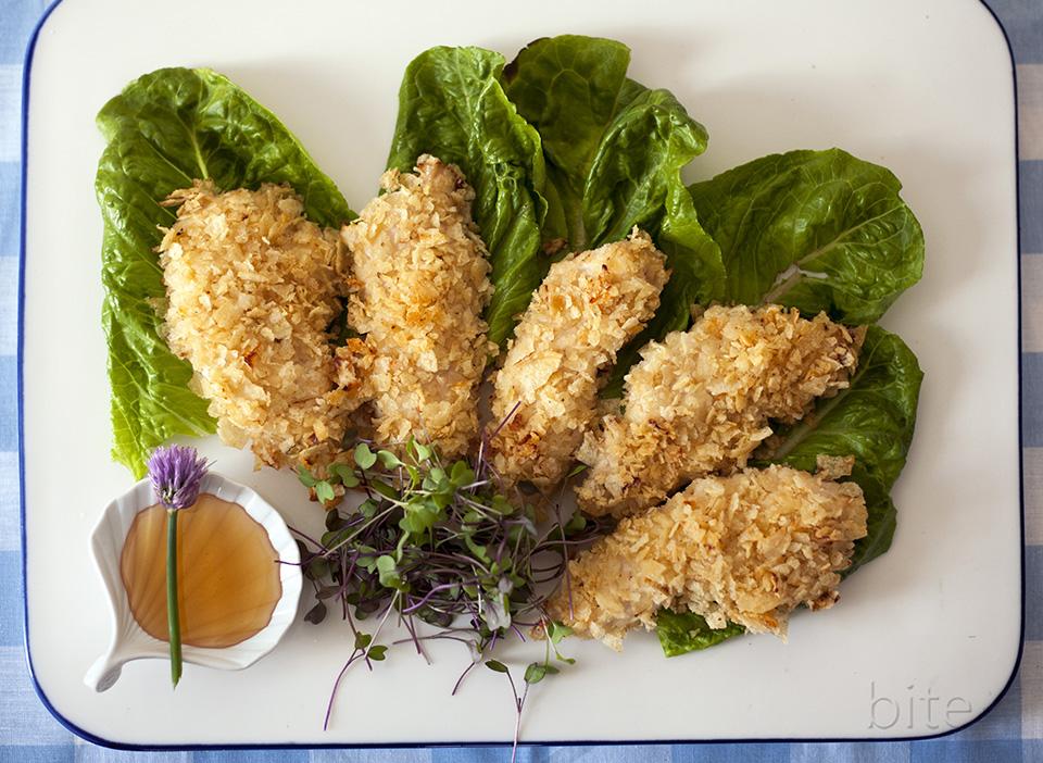 potato chip oven-fried chicken strips – CRUNCH!