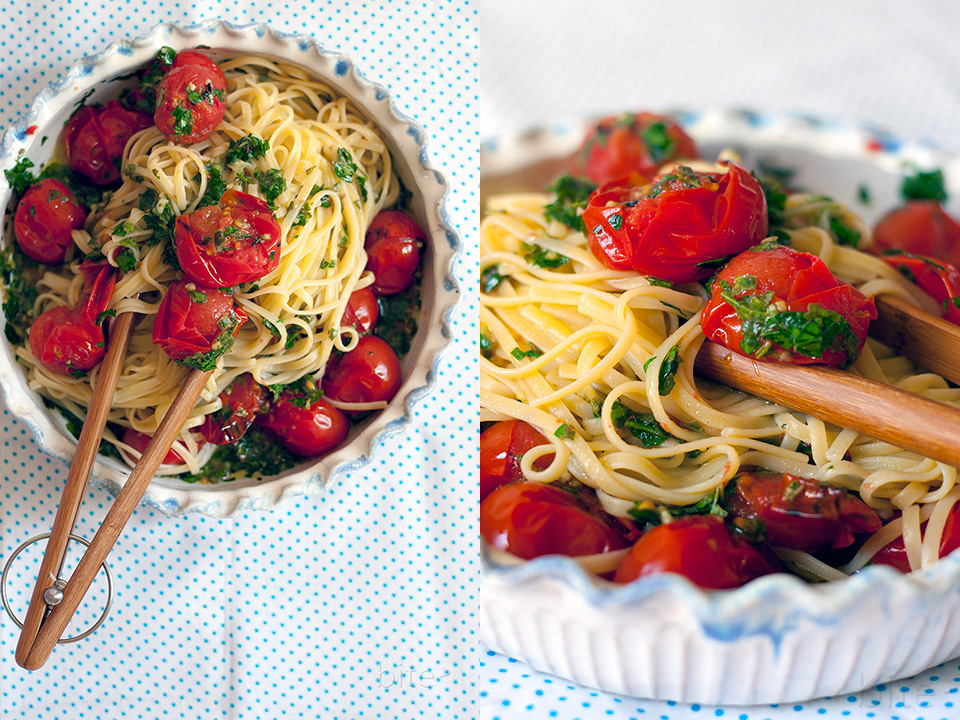 grilled cherry tomato pasta sauce - ready in 10 minutes