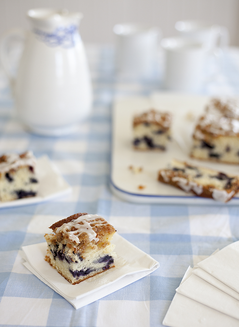 wild blueberry buckle with lemon drizzle