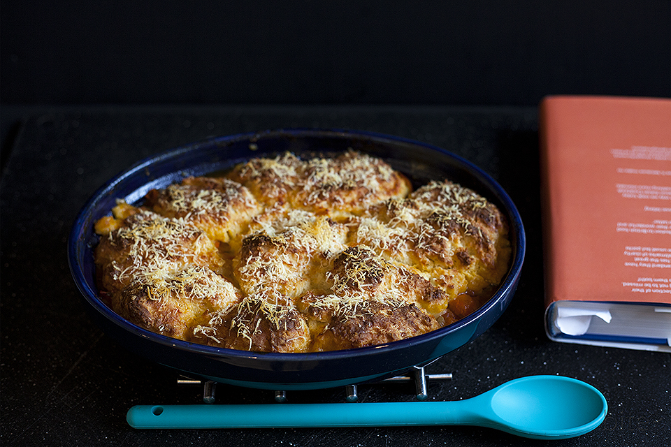 MIXED TOMATO COBBLER WITH PARMESAN CRUST