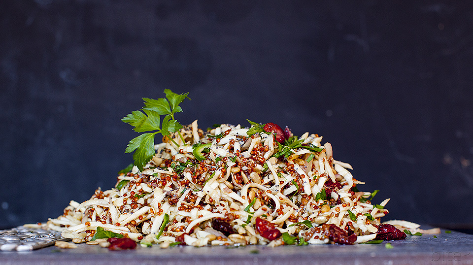 celery root slaw - a crunchy winter salad / bitebymichelle.com