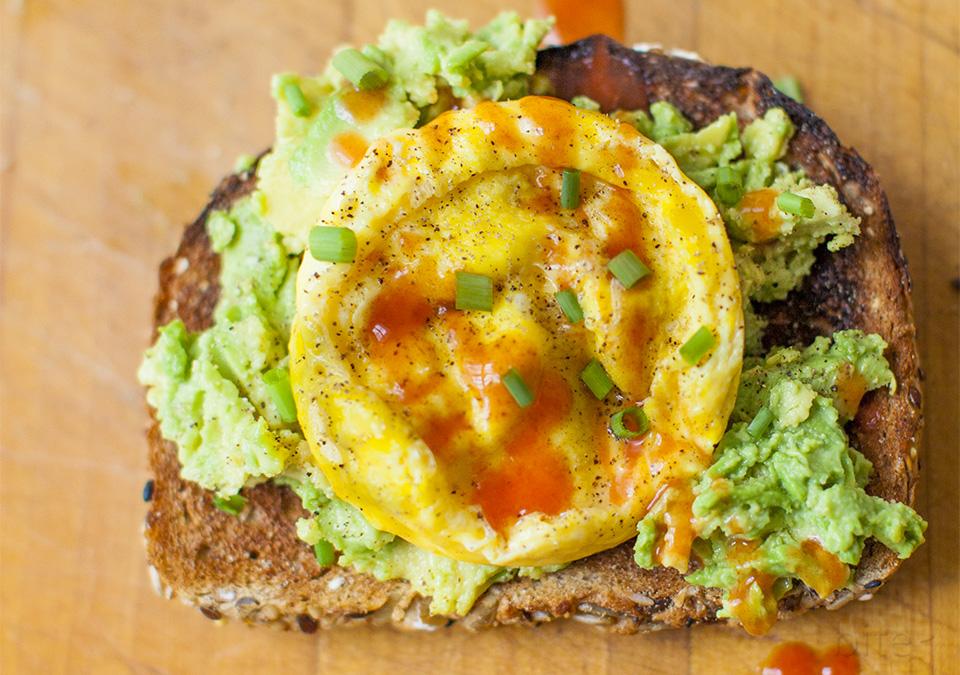 avocado toast, scrambled eggs, hot sauce – thanks gwyn
