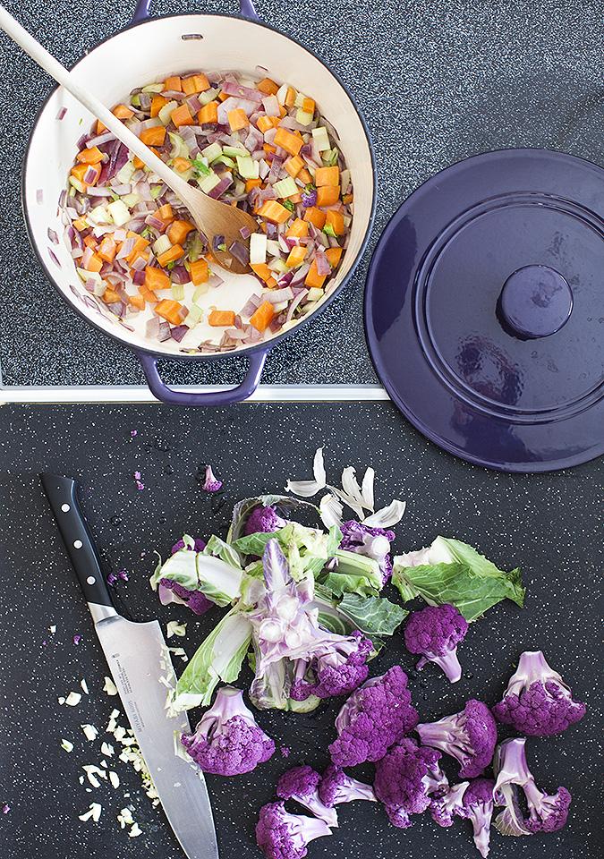purple cauliflower spring soup with crème fraiche - bitebymichelle.com
