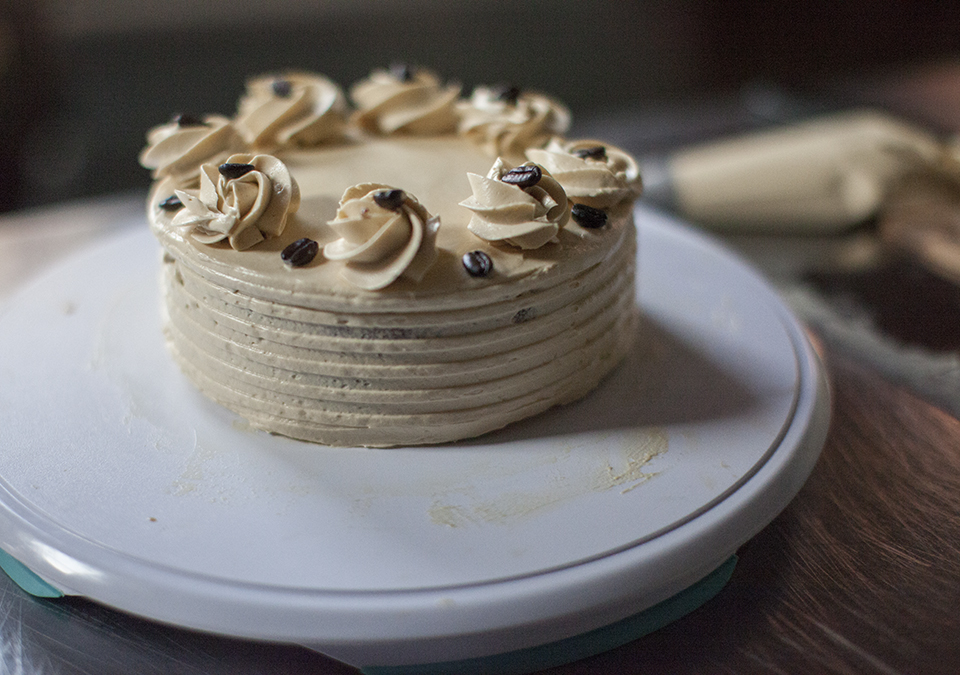 chocolate layer cake with espresso buttercream