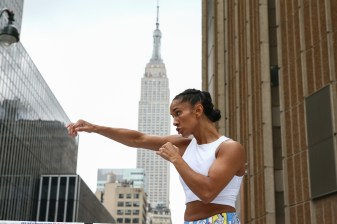 September 10, 2019; New York, NY, USA; Amanda Serrano works out in front of Madison Square Garden in New York City ahead of her fight against WBO featherweight champion Heather Hardy this Friday. Mandatory Credit: Ed Mulholland/Matchroom Boxing USA