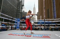 September 10, 2019; New York, NY, USA; WBO featherweight champion Heather Hardy works out in front of Madison Square Garden in New York City ahead of her fight against Amanda Serrano this Friday. Mandatory Credit: Ed Mulholland/Matchroom Boxing USA