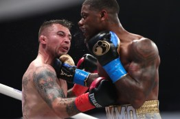 January 30, 2020; Miami, FL, USA; Austin Williams and Donald Sanchez during their January 30th Matchroom Boxing USA bout at The Meridian. Mandatory Credit: 152016000552#1/Matchroom Boxing USA