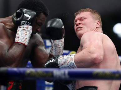 HANDOUT PICTURE COMPLIMENTS OF MATCHROOM BOXING Dillian Whyte vs Alexander Povetkin, WBC Diamond Belt Title fight. 22 August 2020 Picture By Mark Robinson. Povetkin knocked down in the 2nd round.
