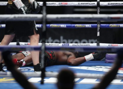 HANDOUT PICTURE COMPLIMENTS OF MATCHROOM BOXING Dillian Whyte vs Alexander Povetkin, WBC Diamond Belt Title fight. 22 August 2020 Picture By Mark Robinson.. Dillian Whyte knocked out.