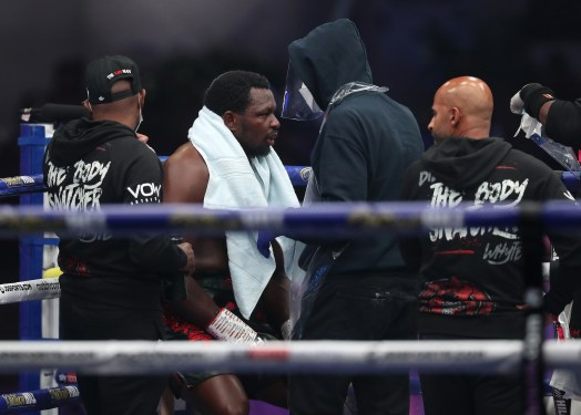 HANDOUT PICTURE COMPLIMENTS OF MATCHROOM BOXING Dillian Whyte vs Alexander Povetkin, WBC Diamond Belt Title fight. 22 August 2020 Picture By Mark Robinson. Dillian Whyte after defeat.