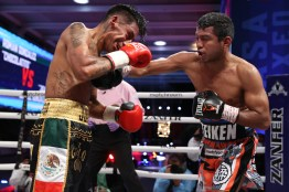 October 23, 2020; Mexico City, Mexico; Roman Gonzalez and Israel Gonzalez during their Matchroom bout on October 23, 2020. Mandatory Credit: Ed Mulholland/Matchroom.