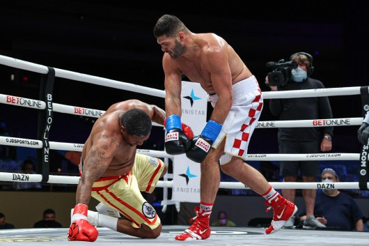 November 7, 2020; Hollywood, Florida; Filip Hrgovic and Rydell Booker during their bout on the November 7, 2020 Matchroom Boxing card in Hollywood, FL. Mandatory Credit:Ed Mulholland/Matchroom.