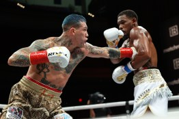 November 27, 2020; Hollywood, Florida; Daniel Jacobs and Gabe Rosado during their bout on the November 27, 2020 Matchroom Boxing card in Hollywood, FL. Mandatory Credit: Ed Mulholland/Matchroom.