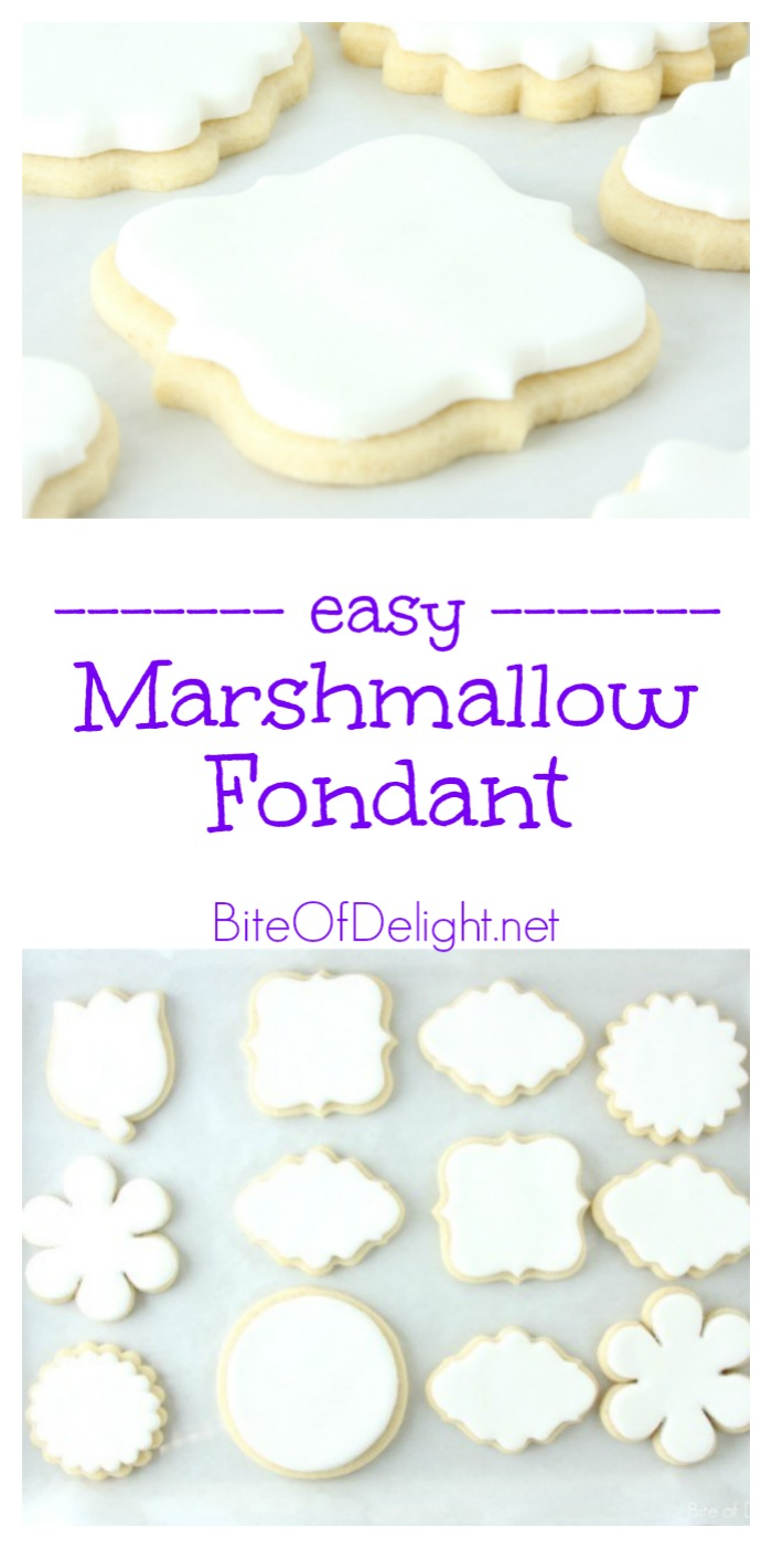 This simple Marshmallow Fondant is easy to make, and only takes 3 ingredients! Perfect for cakes or cookies.
