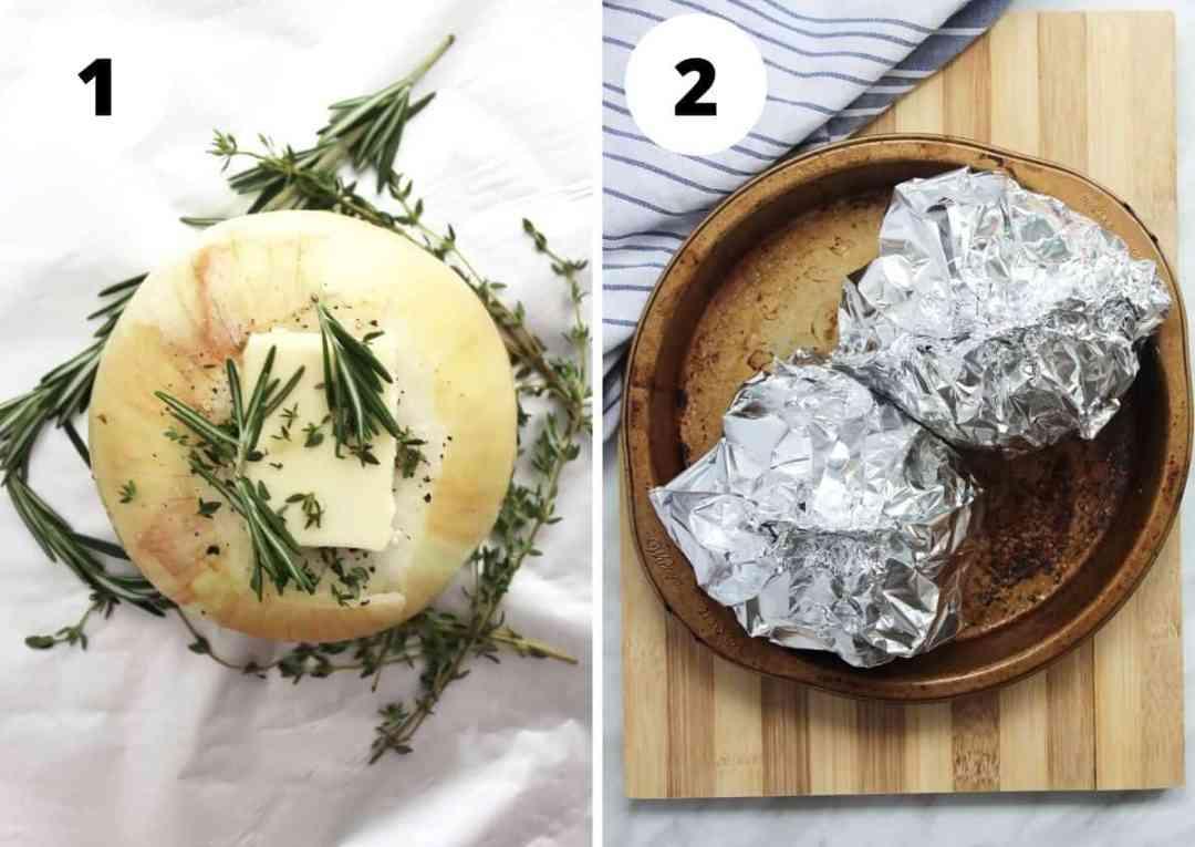 Process shots to show how to roast whole onions