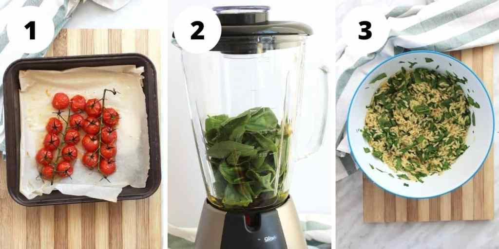 Photos to show roasted tomatoes, how to make the basil oil and the salad combined