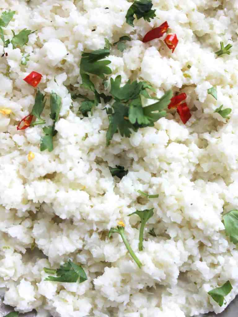 Close up of the cauliflower rice with fresh herbs