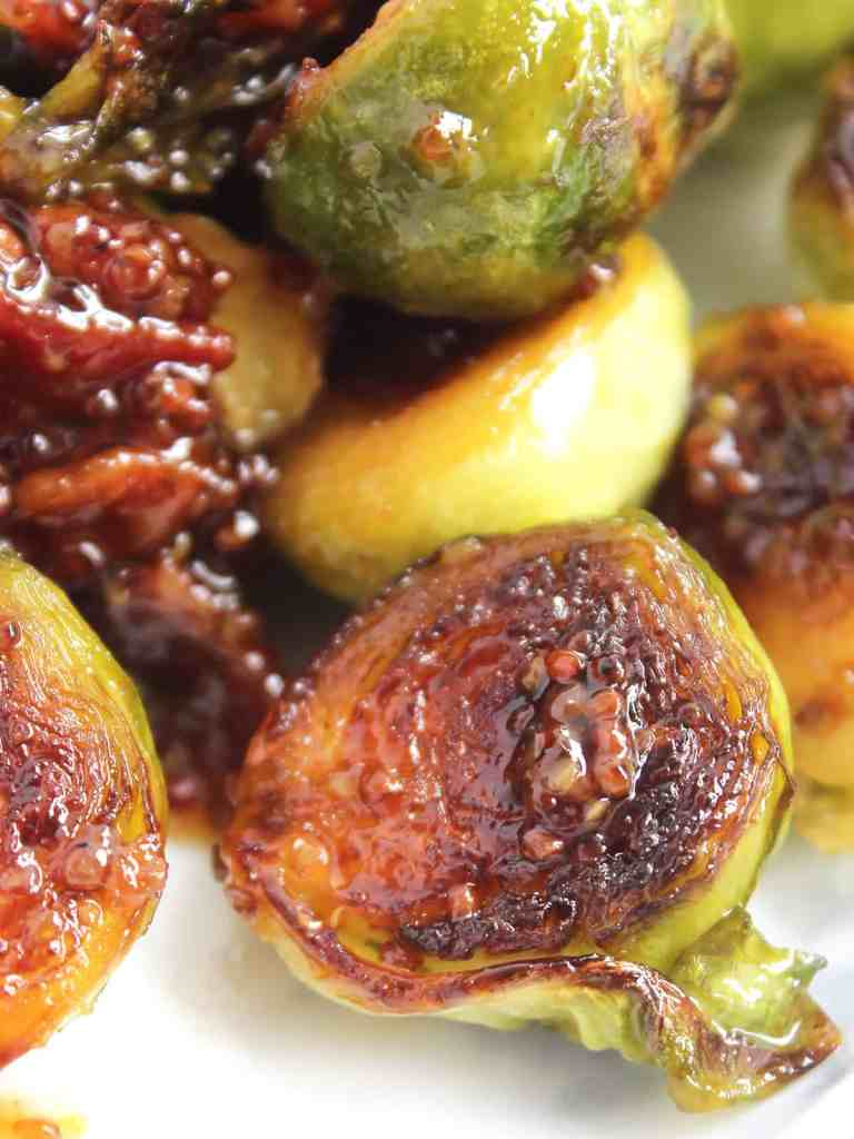 Honey and mustard sauce on a crispy Brussel sprout.