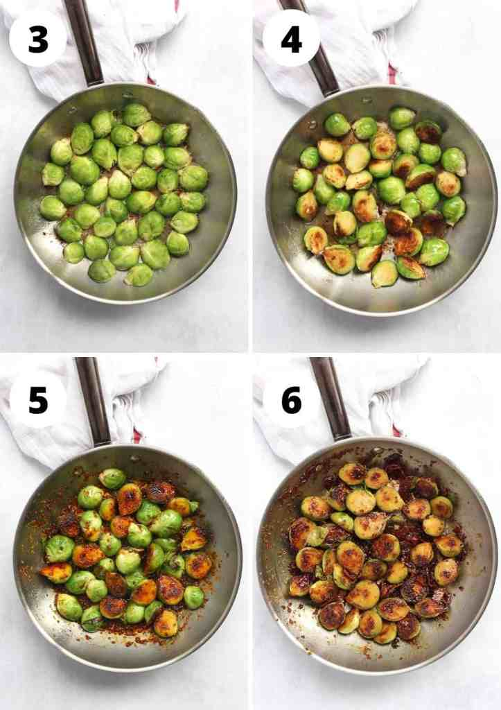 Four step by step photos showing Brussels sprouts cooking in a skillet.