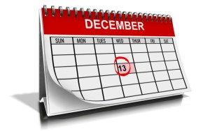 Pic of calendar for the month of December