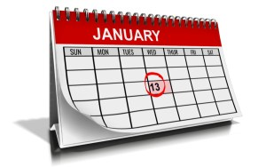 Calendar of the month January