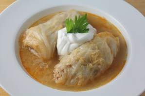 Hungarian cabbage rolls stuffed with ground meat and rice.