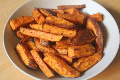 Oven-baked sweet potatoes cut into fries.