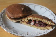 Sweet red bean paste sandwiched between two sweet pancakes.