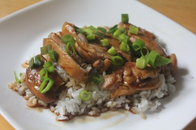 Chicken cooked in sweet and salty teriyaki sauce served over a bed of steamed rice.
