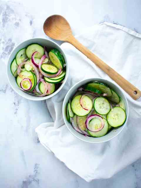 cucumber salad on a white background