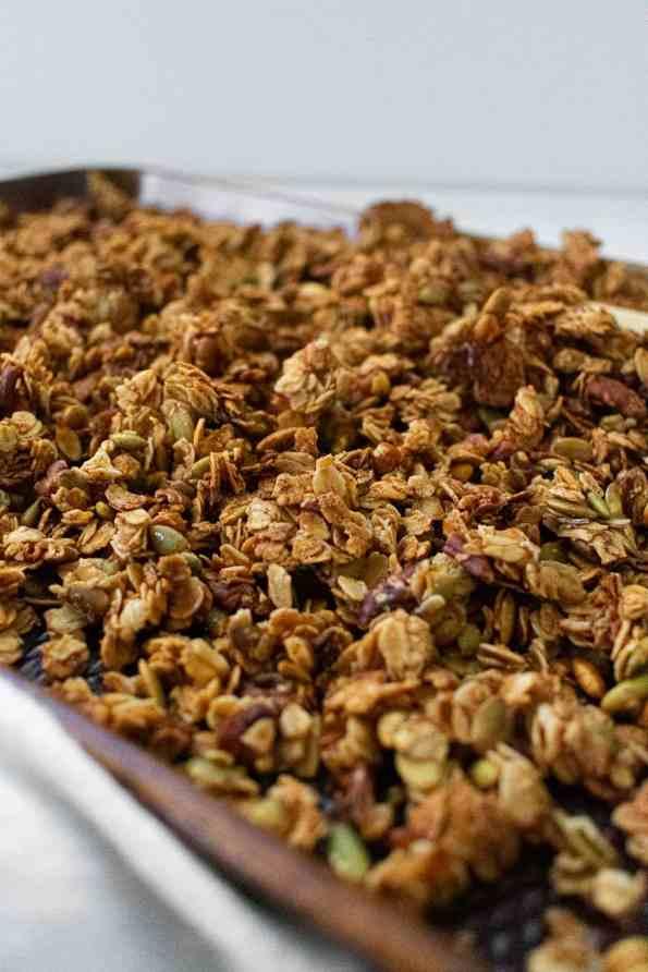 granola on a baking sheet